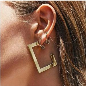 ANTHROPOLOGIE gold mirrored EARRINGS geo Posts